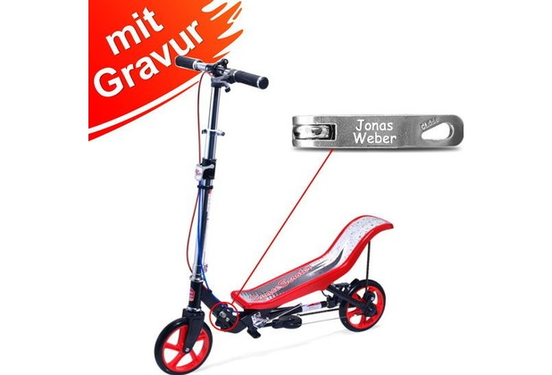 Space Scooter X590 Deluxe Rot MIT GRAVUR (z.B. Namen) bis 120 kg für Kinder und Erwachsene