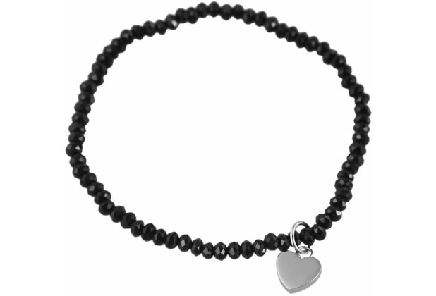 Steinchenarmband mit Edelstahlelement - schwarz 003250000034