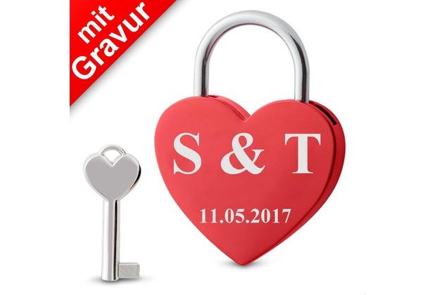 Sterngraf Liebesschloss Herz rot  MIT GRAVUR (z.B. Initialen + Datum) Herzschloss Schloss