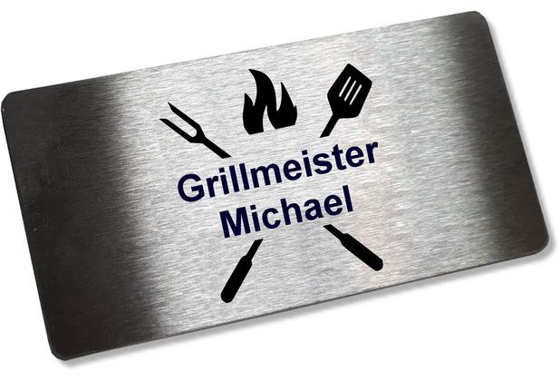 Sterngraf Personalisiertes Edelstahlschild * Grillmeister + Name * 100 x 50 mm Grillzubehör