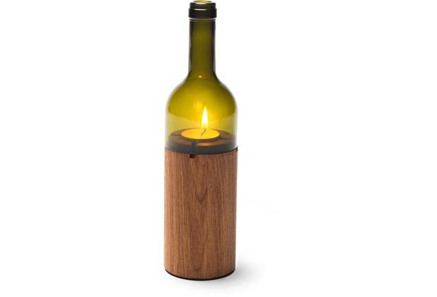 """side by side \""""WeinLicht\"""" Farbe: grün, Material: Eiche/Glas, Höhe 28 cm, Durchmesser 7,5 cm (Windlicht, Teelichthalter)"""