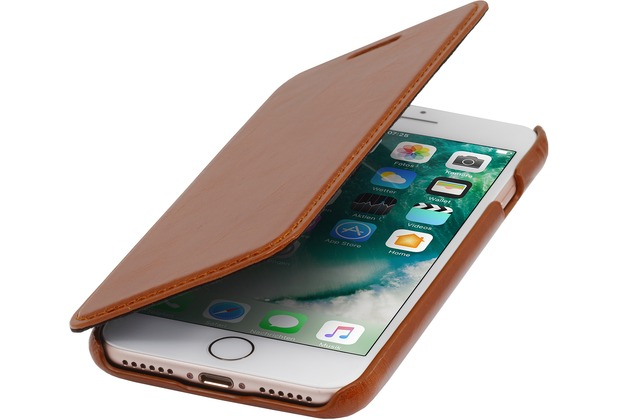 Stilgut Book Type Case ohne Clip für iPhone 7 / 8, cognac