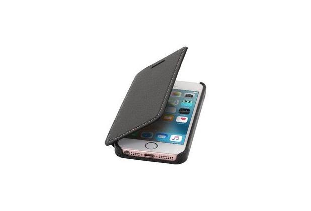 Stilgut Book Type Case ohne Clip für iPhone SE, schwarz