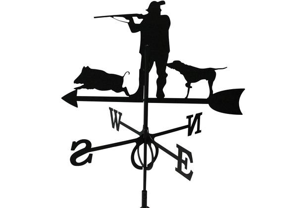 SvenskaV Wetterfahne Jäger, Stahlblech, schwarz pulverbeschichtet, groß