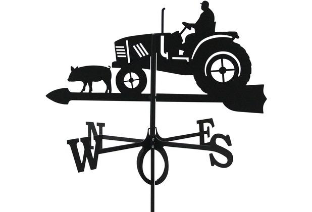 SvenskaV Wetterfahne Traktor, Stahlblech, schwarz pulverbeschichtet, groß