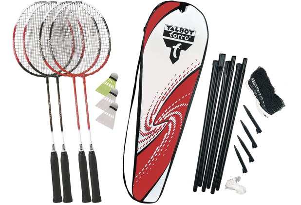 Talbot-Torro Badminton-Set 4-ATTACKER PLUS Set im Thermobag mit Netz