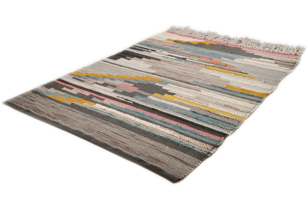 THEKO Handwebteppich Nomadic-Design multicolor hell 140 cm x 200 cm