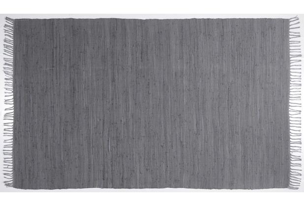 THEKO Handwebteppich Happy Cotton uni anthracite 40 cm x 60 cm