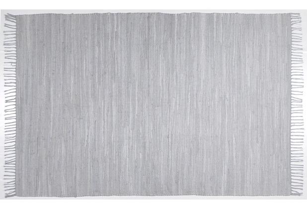 THEKO Handwebteppich Happy Cotton, UNI, grau 40cm x 60cm