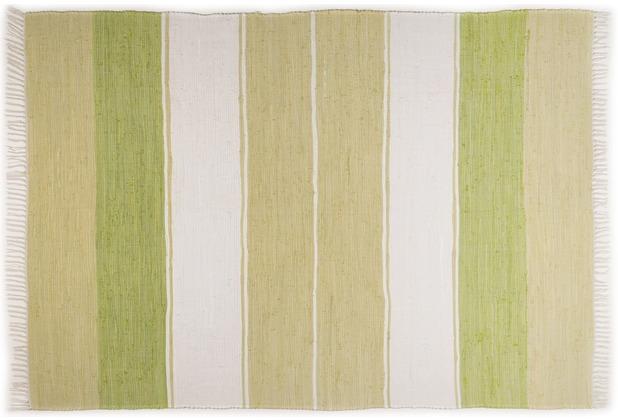 THEKO Handwebteppich Happy Design Stripes grün 60 cm x 120 cm