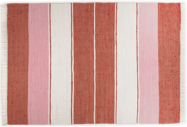 THEKO Handwebteppich Happy Design Stripes rot 60 cm x 120 cm