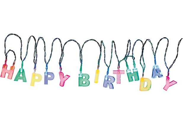 "TIB Heyne LED-Lichterkette ""Happy Birthday\"", bunt, batterie- betrieben, 13 Multicolor LED"
