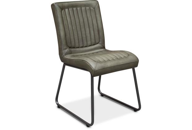 TINGO LIVING JACOB Polsterstuhl, 45x60/88 cm, Wachsleder patina-grün, schwarze runde Beine
