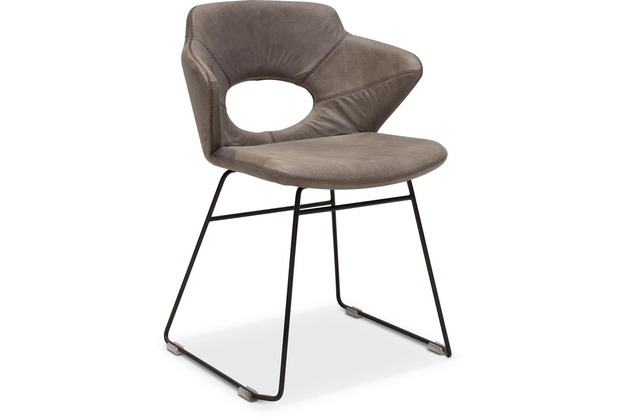 TINGO LIVING SIMON Armlehnstuhl, 59x54/81 cm, Nubukleder taupe, Baseball-Naht, schwarze runde Beine