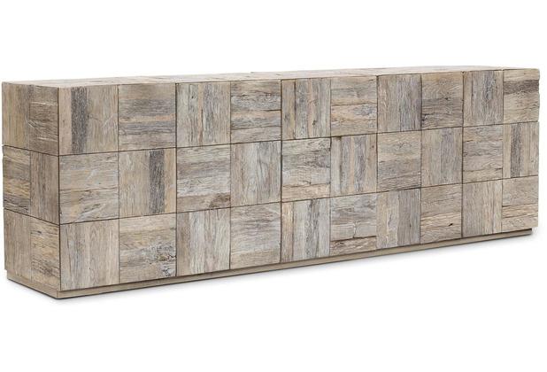 TINGO LIVING SQUARED Sideboard, 214x42x67 cm, Eiche vintage gebürstet & gekälkt