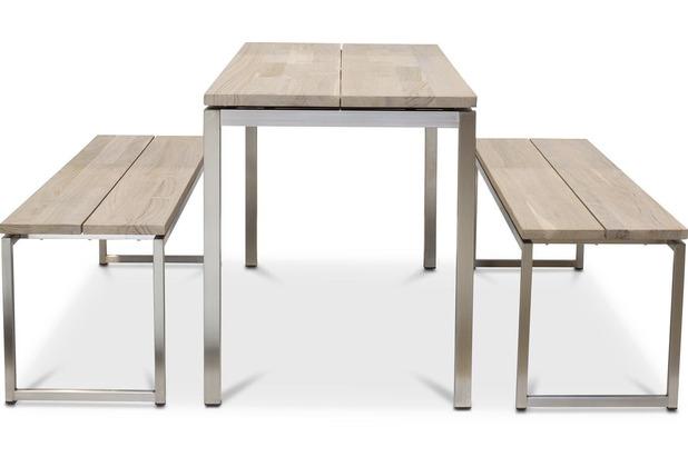 TINGO LIVING TIMBER Gartentisch schmal, 160x65/77 cm, Teak vintage-grau