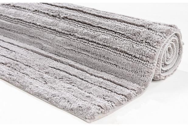 Tom Tailor Badteppich Cotton Stripe Stripes 630 taupe 60 cm x 60 cm