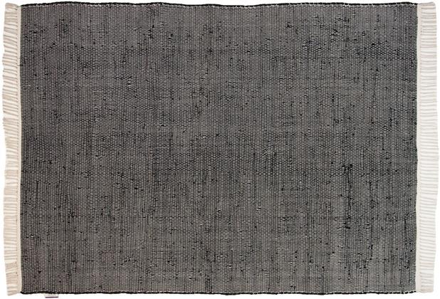 Tom Tailor Handwebteppich Cotton Color uni schwarz 140 cm x 200 cm