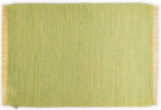 Tom Tailor Handwebteppich Cotton Colors uni green 60 cm x 120 cm