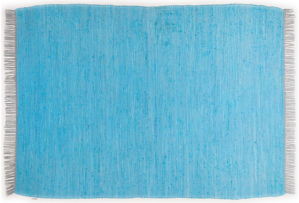 Tom Tailor Handwebteppich Cotton Colors uni türkis 60 cm x 120 cm