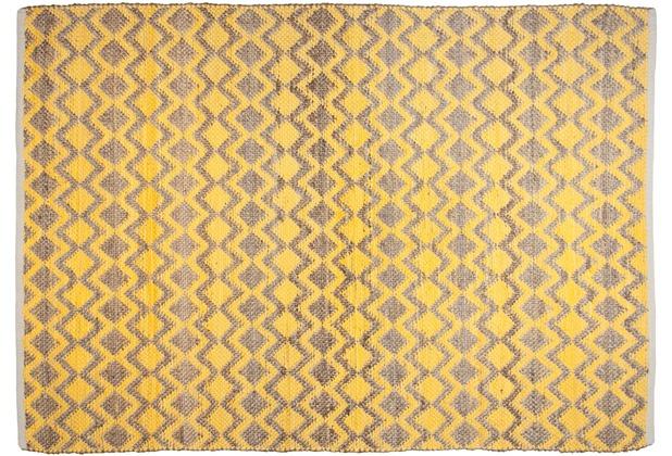 Tom Tailor Handwebteppich Smooth Comfort Geometric gelb 140 cm x 200 cm