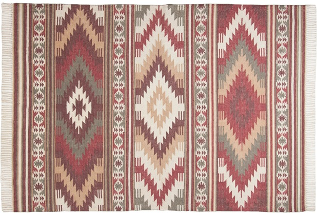 Tom Tailor Vintage-Handwebteppich Kelim Colors I rot 140 cm x 200 cm