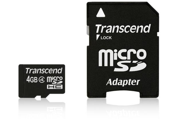 Transcend microSDHC Class 4, 4GB + SD-Adapter