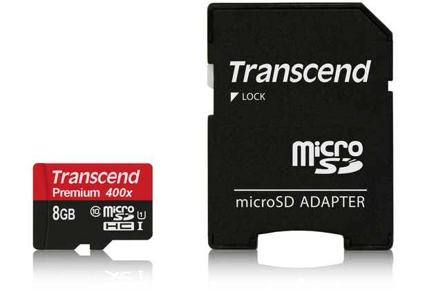 Transcend microSDHC Class 10 UHS-I 400x, 8GB + SD Adapter