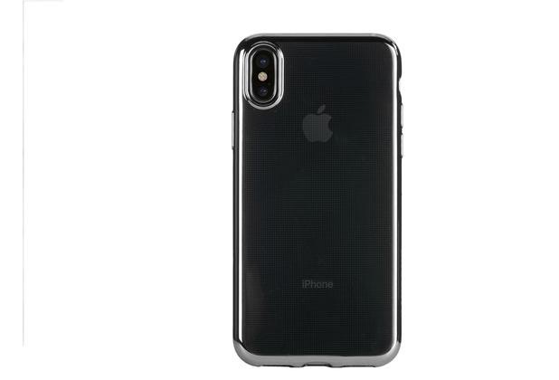 Tucano Elektro Flex, transparente Silikonhülle mit farbigem Rand für iPhone X, schwarz