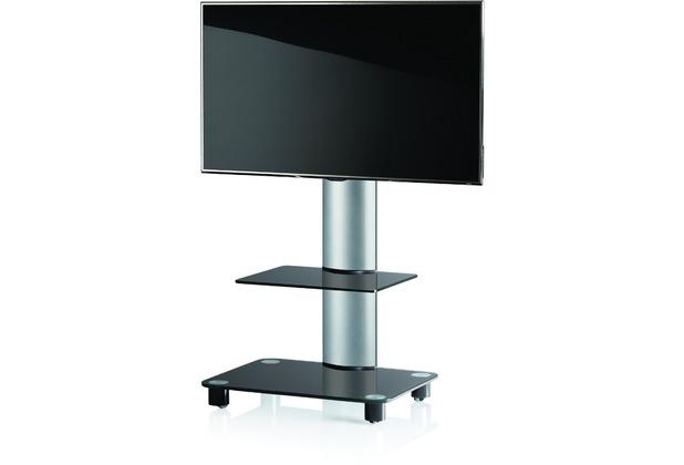vcm tv standfu tosal silber schwarzglas mit zwischenboden inkl rollen. Black Bedroom Furniture Sets. Home Design Ideas