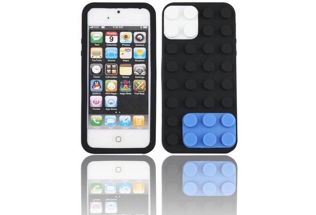 Twins Blocks für iPhone 5/5S/SE, schwarz-blau