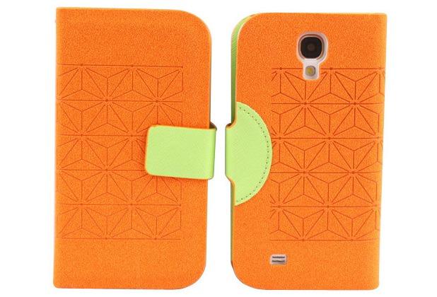 Twins Elegant BookFlip für Samsung Galaxy S4, orange-grün