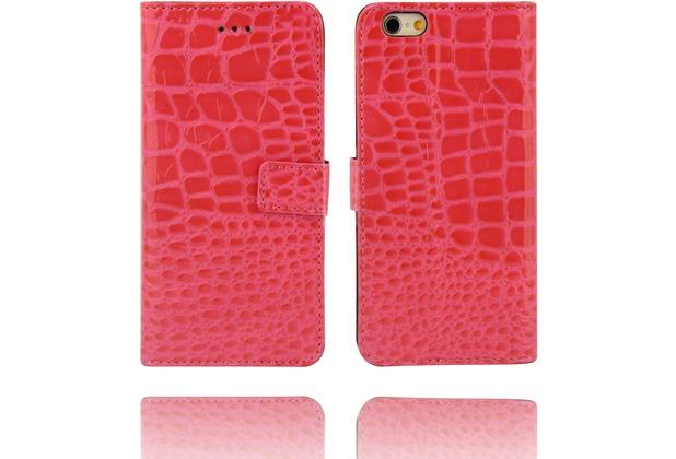Twins Kunstleder Flip Case für iPhone 6 Plus, Kroko Optik, pink