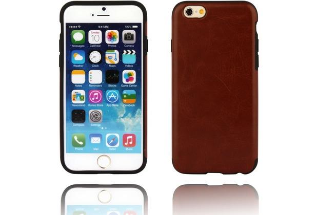 Twins Shield Matte Lederoptik für iPhone 6 Braun