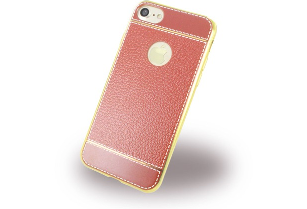 UreParts Kunstleder Cover / Handyhülle - Apple iPhone 7 / 8 - Braun/Gold