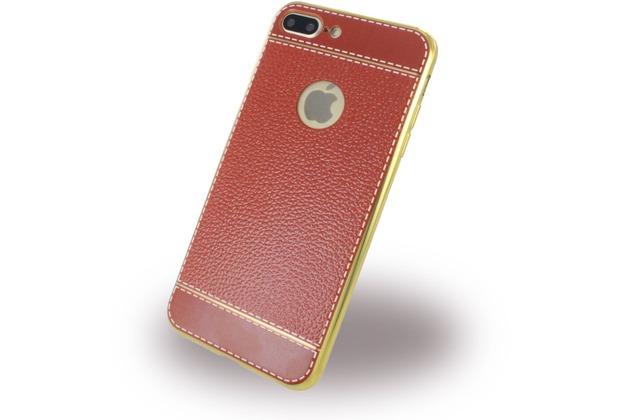 UreParts Kunstleder Cover / Handyhülle - Apple iPhone 7 Plus / iPhone 8 Plus - Braun/Gold