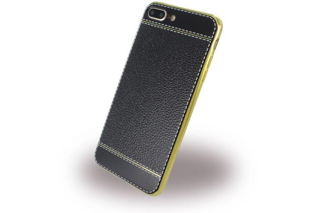 UreParts Kunstleder Cover / Handyhülle - Apple iPhone 7 Plus / iPhone 8 Plus - Schwarz/Gold