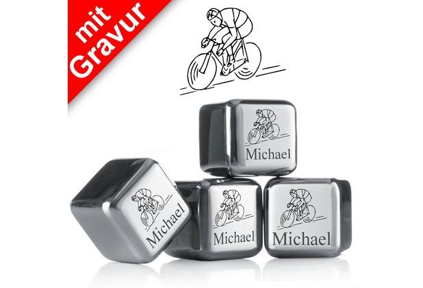 """vacu vin Kühlsteine 4er-Set MIT GRAVUR """"Fahrradfahrer + Name"""" wiederverwendbare Edelstahl-Eiswürfel Whiskysteine"""