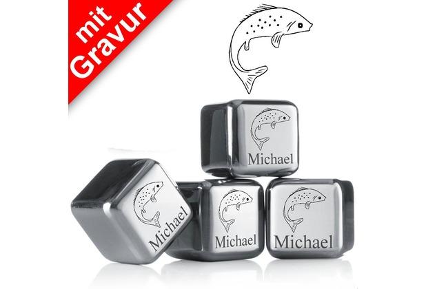 """vacu vin Kühlsteine 4er-Set MIT GRAVUR """"Fisch + Name"""" wiederverwendbare Edelstahl-Eiswürfel Whiskysteine"""