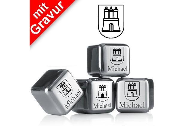 """vacu vin Kühlsteine 4er-Set MIT GRAVUR """"Hamburg Wappen + Name"""" wiederverwendbare Edelstahl-Eiswürfel Whiskysteine"""