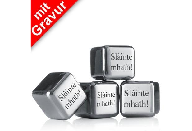 """vacu vin Kühlsteine 4er-Set MIT GRAVUR (z.B. """"Slainte mhath"""") wiederverwendbare Edelstahl-Eiswürfel Whiskysteine"""
