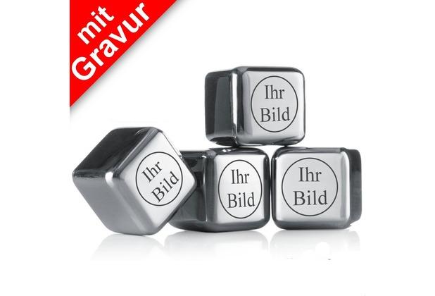 """vacu vin Kühlsteine MIT GRAVUR auf 2 Seiten""""Vorderseite: Bild/Logo, Rückseite: Name/Text"""" 4 wiederverwendbare Edelstahl-Eiswürfel Whiskysteine"""