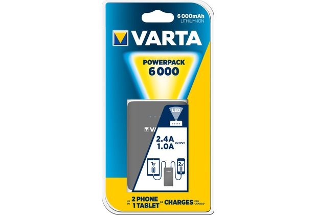 VARTA Akku Powerpack Li-Ion - USB - 5V/6000mAh für Smartphones - iPhone - Tablet