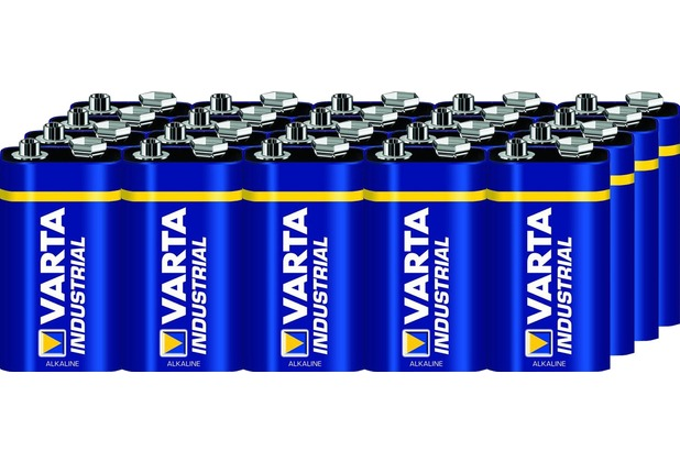 VARTA Batterie Alkaline, E-Block, 6LR61, 9V Industrial, Shrinkwrap, (20-Pack)