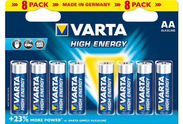 VARTA Batterie Alkaline, Mignon, AA, LR06, 1.5V High Energy, Retail Blister (8-Pack)