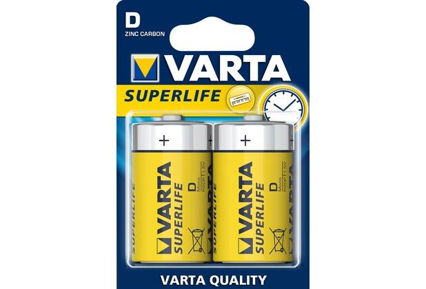 VARTA Batterie Zink-Kohle, Mono, D, R20, 1.5V Superlife, Retail Blister (2-Pack)