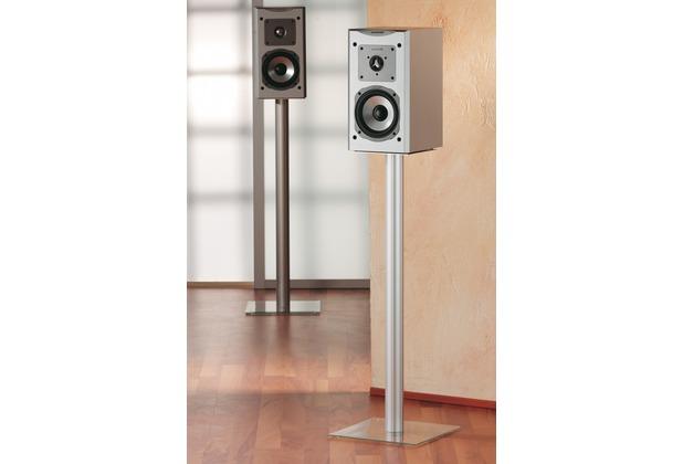 "VCM 2x Lautsprecherstand \""Boxero Maxi\""   Lautsprecherständer Boxenständer Boxenstand Ständer Surroundständer Alu / Glas Schwarzglas"