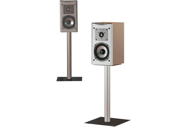 "VCM 2x Lautsprecherstand \""Boxero Mini\"" Stand Regal Lautsprecher Boxenständer Boxenstand Ständer Alu / Glas Schwarzglas"