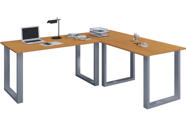 """VCM Eckschreibtisch Schreibtisch Büromöbel Computertisch Winkeltisch Tisch Büro \""""Lona\"""" 130 x 160 x 50 cm  Buche"""