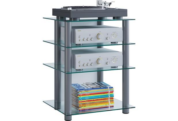 vcm hifi m bel rack phono turm medienrack medienm bel regal tisch alu glas bilus klarglas. Black Bedroom Furniture Sets. Home Design Ideas